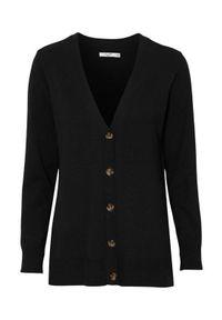 Cellbes Cienko dziany rozpinany sweter z dekoltem w serek i guzikami Czarny female czarny 42/44. Typ kołnierza: dekolt w serek. Kolor: czarny. Materiał: włókno, wiskoza. Długość rękawa: długi rękaw. Długość: długie. Wzór: gładki
