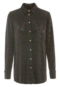 Czarna bluzka bonprix długa, w kolorowe wzory