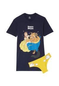 Undiz - Koszula nocna i figi Beautybeastiz. Kolor: niebieski. Materiał: bawełna. Długość: krótkie. Wzór: nadruk