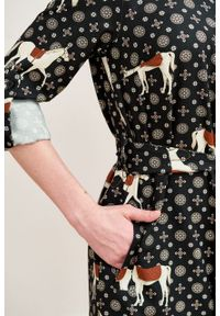 Marie Zélie - Sukienka Eliza Ponnie. Materiał: wiskoza, bawełna. Długość rękawa: długi rękaw. Typ sukienki: szmizjerki. Styl: klasyczny