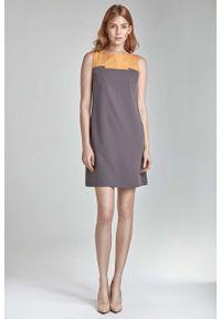 Nife - Kobieca Dwubarwna Prosta Sukienka w Kolorze Mocca. Materiał: poliester, wiskoza, elastan. Typ sukienki: proste