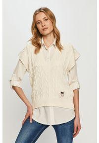 Kremowy sweter Pinko z krótkim rękawem, gładki, casualowy, na co dzień