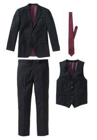 Garnitur 4-częściowy (marynarka, spodnie, kamizelka i krawat) bonprix czarny. Kolor: czarny. Styl: elegancki