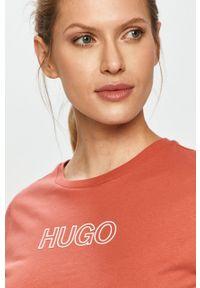 Różowa bluzka Hugo casualowa, na co dzień, z nadrukiem