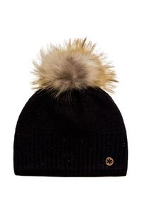 Czarna czapka Granadilla elegancka, z aplikacjami, na zimę