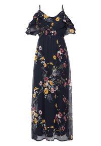Długa sukienka z odsłoniętymi ramionami, w kwiatowy deseń bonprix ciemnoniebieski z nadrukiem. Kolor: niebieski. Wzór: kwiaty, nadruk. Długość: maxi