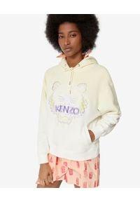 Kenzo - KENZO - Żółta gradientowa bluza z tygrysem. Typ kołnierza: kaptur. Kolor: biały. Materiał: bawełna, jeans. Długość rękawa: długi rękaw. Długość: długie. Wzór: gradientowy