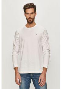 Biała koszulka z długim rękawem GANT na co dzień, casualowa
