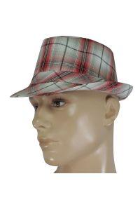 Czerwona czapka Jarek w kratkę, wakacyjna, na lato