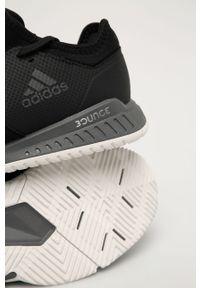 Czarne buty sportowe adidas Performance na sznurówki, z okrągłym noskiem, z cholewką