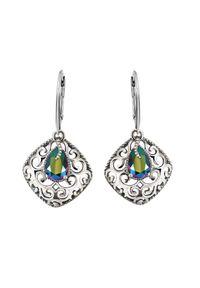 Polcarat Design - Srebrne oksydowane kolczyki z kryształami Swarovski K 2075. Materiał: srebrne. Kolor: srebrny. Wzór: aplikacja. Kamień szlachetny: kryształ