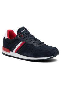 Sneakersy TOMMY HILFIGER - Iconic Material Mix Runner FM0FM03470 Desert Sky DW5. Okazja: na co dzień. Kolor: niebieski. Materiał: zamsz, skóra, materiał. Szerokość cholewki: normalna. Styl: casual, sportowy