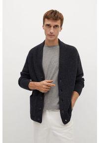 Szary sweter rozpinany Mango Man casualowy, raglanowy rękaw