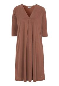 Cream Sukienka z modalu dżersejowego Modala rdzawobrązowy female brązowy S (36). Typ kołnierza: dekolt w serek. Kolor: brązowy. Materiał: jersey