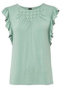 Shirt z koronkową wstawką bonprix zielony pastelowy. Kolor: zielony. Materiał: koronka. Wzór: koronka