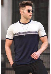 IVET - T-shirt męski JULIEN WHITE. Okazja: na co dzień. Kolor: niebieski, wielokolorowy, biały. Materiał: bawełna, materiał, jeans. Styl: casual, klasyczny #1