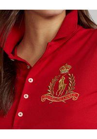 Czerwony t-shirt Ralph Lauren klasyczny, z haftami, polo