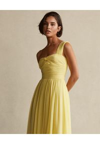 Ralph Lauren - RALPH LAUREN - Żółta sukienka na ramiączkach. Typ kołnierza: polo. Kolor: żółty. Materiał: materiał. Długość rękawa: na ramiączkach #3