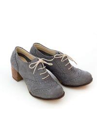 Zapato - sznurowane półbuty na 6 cm słupku - skóra naturalna - model 251 - kolor grafitowy. Kolor: szary. Materiał: skóra. Obcas: na słupku