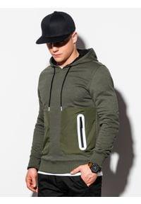 Ombre Clothing - Bluza męska z kapturem B1082 - khaki - XXL. Typ kołnierza: kaptur. Kolor: brązowy. Materiał: bawełna, poliester. Wzór: aplikacja
