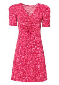 Sukienka z dżerseju bonprix różowy magenta w kwiaty. Kolor: różowy. Materiał: jersey. Wzór: kwiaty. Sezon: lato