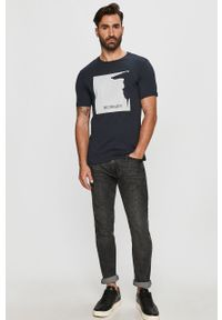 Niebieski t-shirt Trussardi Jeans z nadrukiem, na co dzień, z włoskim kołnierzykiem, klasyczny