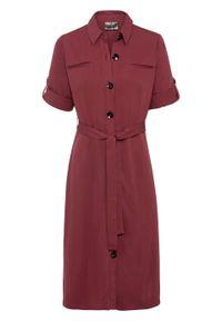 Czerwona sukienka bonprix midi, szmizjerki, z krótkim rękawem