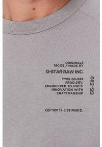 G-Star RAW - G-Star Raw - T-shirt bawełniany. Okazja: na co dzień. Kolor: szary. Materiał: bawełna. Wzór: nadruk. Styl: casual
