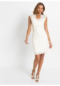 Biała sukienka bonprix elegancka, z aplikacjami