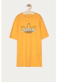 Pomarańczowy t-shirt adidas Originals casualowy, z nadrukiem, na co dzień