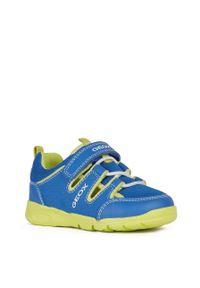 Niebieskie buty sportowe Geox do biegania, z okrągłym noskiem