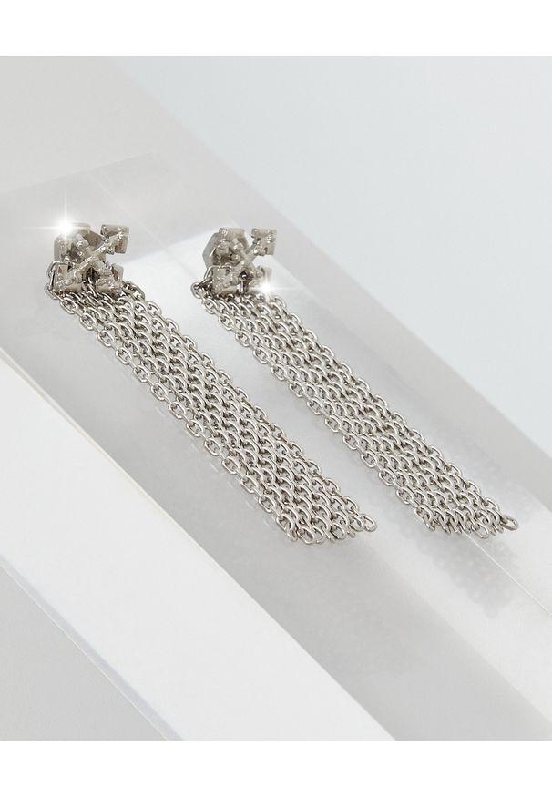 OFF-WHITE - Wiszące kolczyki ze strzałami. Materiał: srebrne. Kolor: srebrny. Wzór: aplikacja