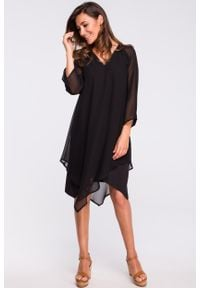 e-margeritka - Sukienka szyfonowa elegancka czarna - l. Okazja: na co dzień, na wesele, na imprezę, na ślub cywilny. Kolor: czarny. Materiał: szyfon. Typ sukienki: proste, trapezowe, asymetryczne. Styl: elegancki. Długość: midi