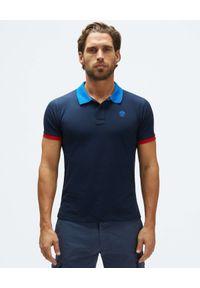 North Sails - NORTH SAILS - Granatowa koszulka z kontrastowymi detalami. Typ kołnierza: polo. Kolor: niebieski. Materiał: bawełna. Wzór: haft