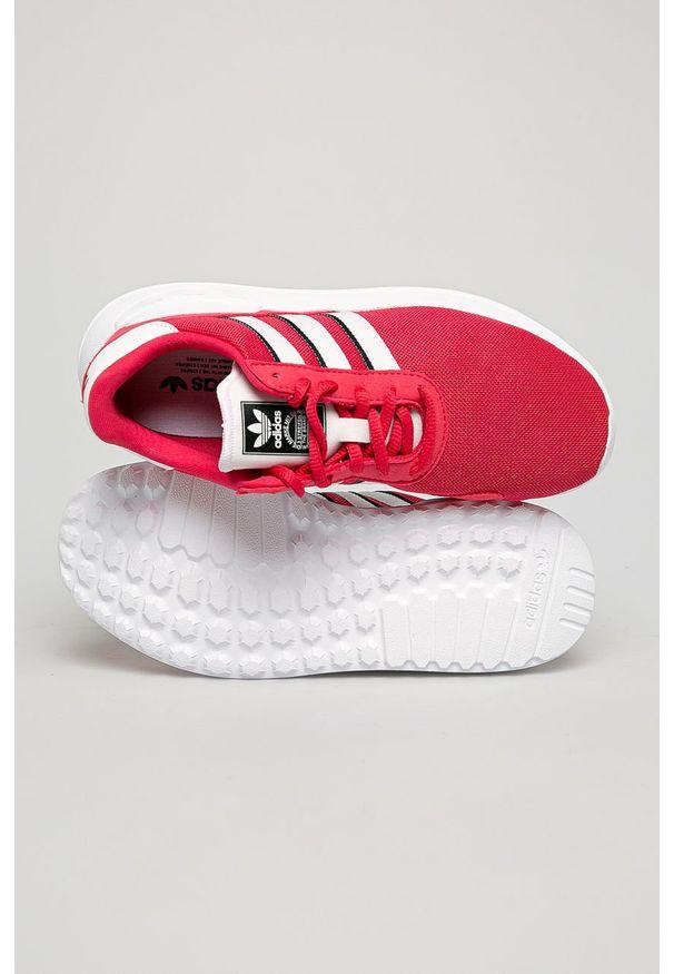 Różowe buty sportowe adidas Originals z okrągłym noskiem, na sznurówki