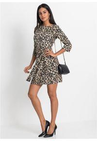Sukienka z paskiem bonprix brązowy w cętki leoparda. Kolor: brązowy. Długość: mini