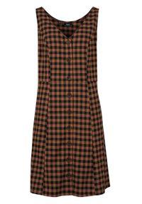 Sukienka z tkaniny z plisą guzikową bonprix brązowy mokka w kratę. Kolor: brązowy. Materiał: materiał, tkanina, poliester, elastan, wiskoza
