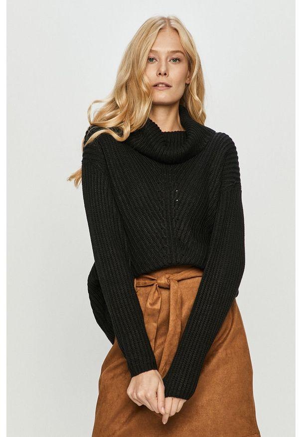 Czarny sweter only z długim rękawem, długi, z golfem
