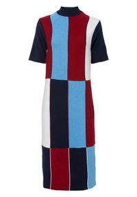 Sukienka dzianinowa bonprix niebiesko-czerwono-biały. Kolor: niebieski. Materiał: dzianina