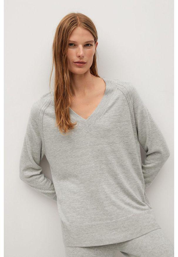 Szary sweter mango na co dzień, z długim rękawem, długi