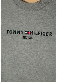 Szara bluza TOMMY HILFIGER casualowa, z aplikacjami, bez kaptura