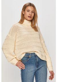 Kremowy sweter Noisy may z golfem, z długim rękawem, długi