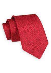 Czerwony Klasyczny Elegancki Krawat -Angelo di Monti- 7 cm, Męski, w Tłoczony Wzór Paisley. Kolor: czerwony. Wzór: paisley. Styl: klasyczny, elegancki