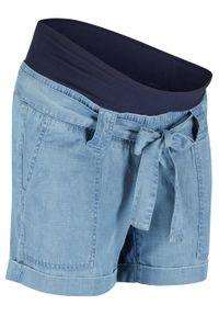 """Szorty ciążowe z lnu w optyce dżinsu bonprix niebieski """"bleached"""". Kolekcja: moda ciążowa. Kolor: niebieski. Materiał: len"""