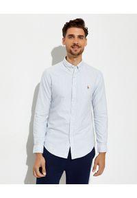 Ralph Lauren - RALPH LAUREN - Koszula w niebieskie paski Oxford Slim Fit. Typ kołnierza: button down, polo. Kolor: niebieski. Materiał: bawełna, tkanina. Długość rękawa: długi rękaw. Długość: długie. Wzór: paski