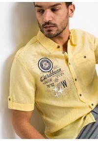 Koszula z lnem, krótki rękaw bonprix jasnożółty z nadrukiem. Kolor: żółty. Materiał: len. Długość rękawa: krótki rękaw. Długość: krótkie. Wzór: nadruk. Styl: wakacyjny #3