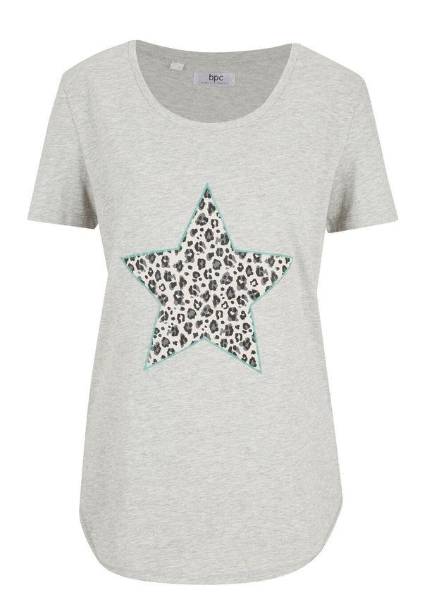 T-shirt z aplikacją bonprix jasnoszary melanż - zielony oceaniczny leo. Kolor: szary. Wzór: aplikacja, melanż