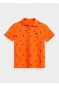 Pomarańczowy t-shirt 4f z krótkim rękawem, z nadrukiem
