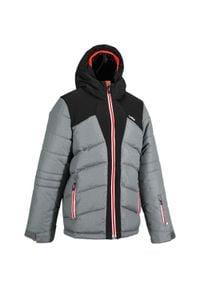 WEDZE - Kurtka narciarska WARM 500 dla dzieci. Kolor: czarny, szary, pomarańczowy, czerwony, wielokolorowy. Materiał: materiał. Sezon: zima. Sport: narciarstwo