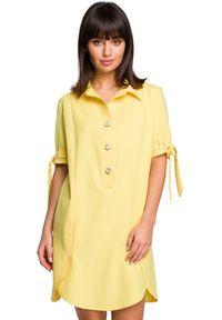 BE - Swobodna koszulowa sukienka z dodatkiem lnu. Okazja: do pracy, na co dzień, na spotkanie biznesowe. Materiał: len. Długość rękawa: krótki rękaw. Typ sukienki: koszulowe. Styl: biznesowy, casual